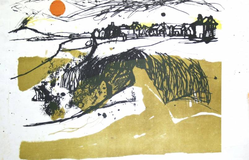 Allonby looking north Percy Kelly lithograph 1964