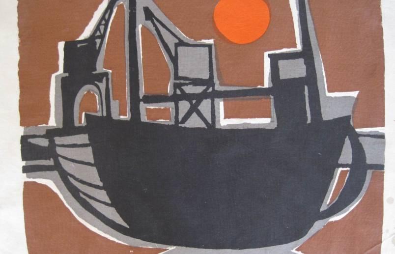Boat and sun; screenprint on coarse linen