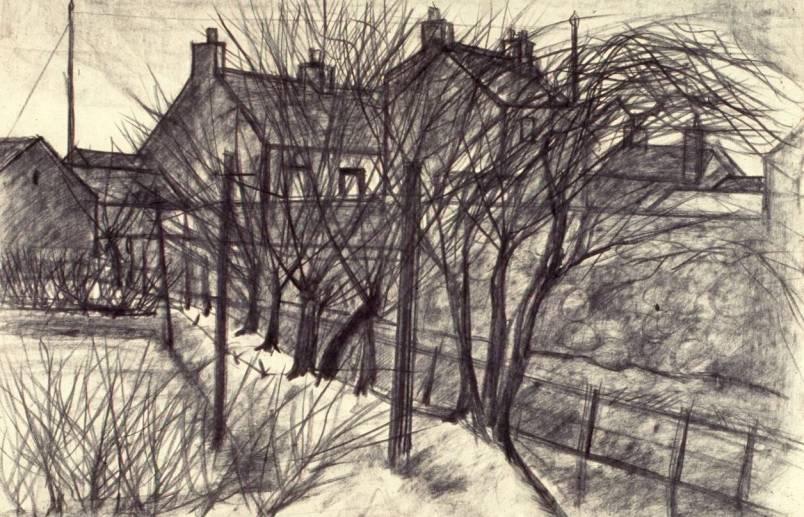 Back Lane, Allonby 1958 100 x 75cm