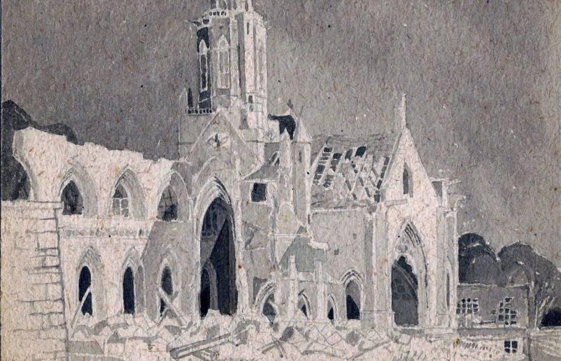 bombed church Caen