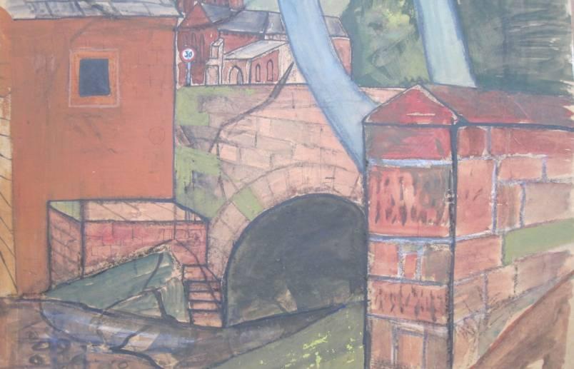 Calder Bridge  Gouache on paper