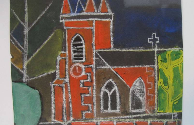 Red church   pastel on paper
