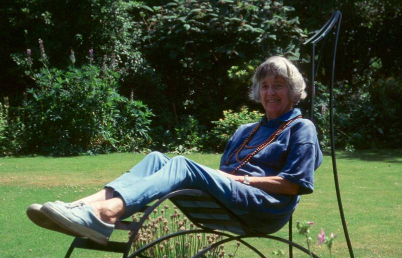 Joan David in the garden at Castlegate House