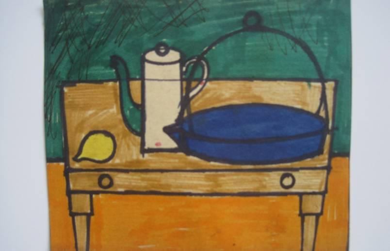 coffee pot and lemon 32 x 32 (11x 9.5cm)