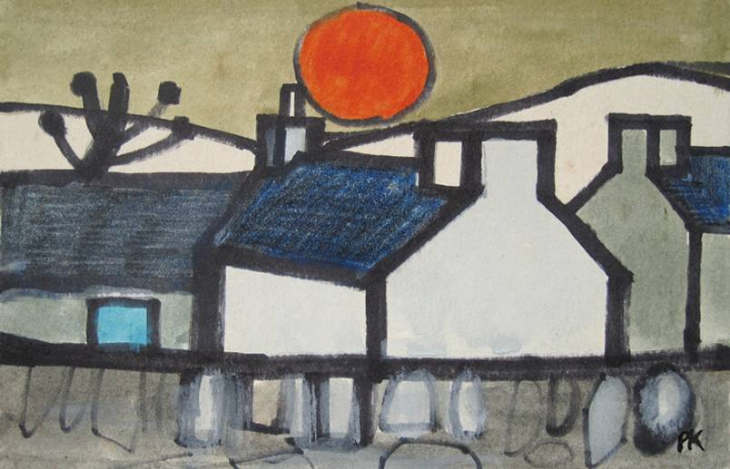 Blue Door and Red Sun by Percy Kelly