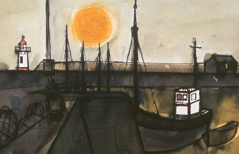 Boat and Sun Whitehaven by Percy Kelly